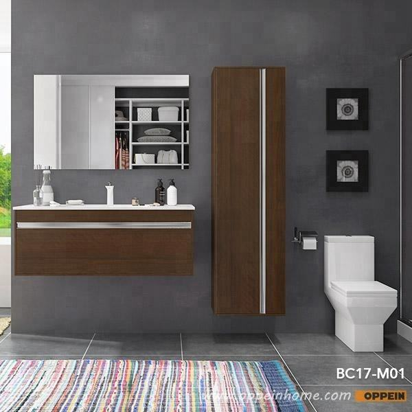 OPPEIN modern wood grain bathroom almirah designs furniture set bathroom cabinet vanity