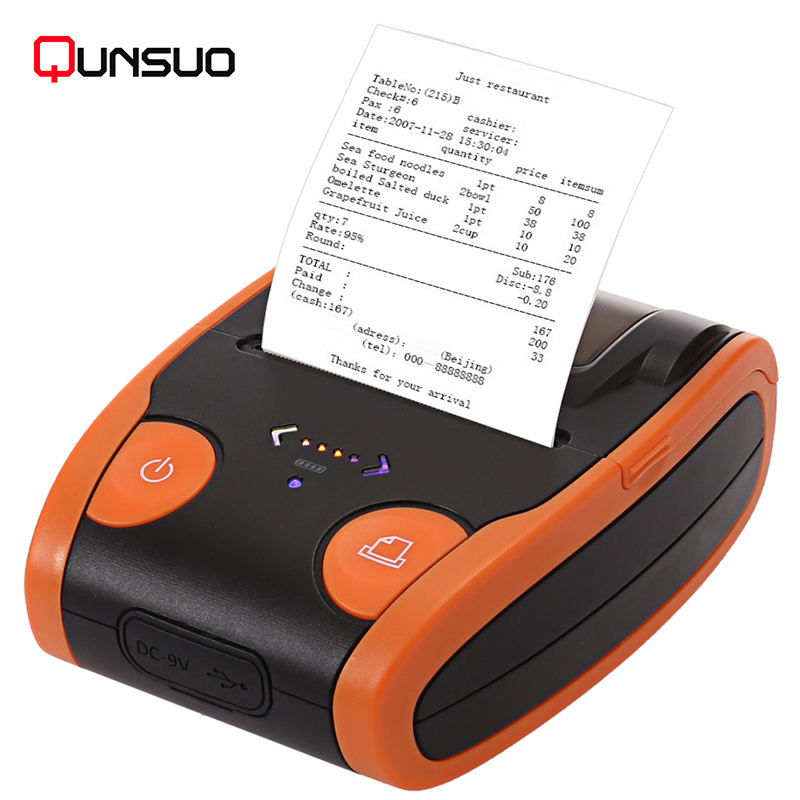 Thermal transfer label / barcode / receipt 58mm mini portable bluetooth printer