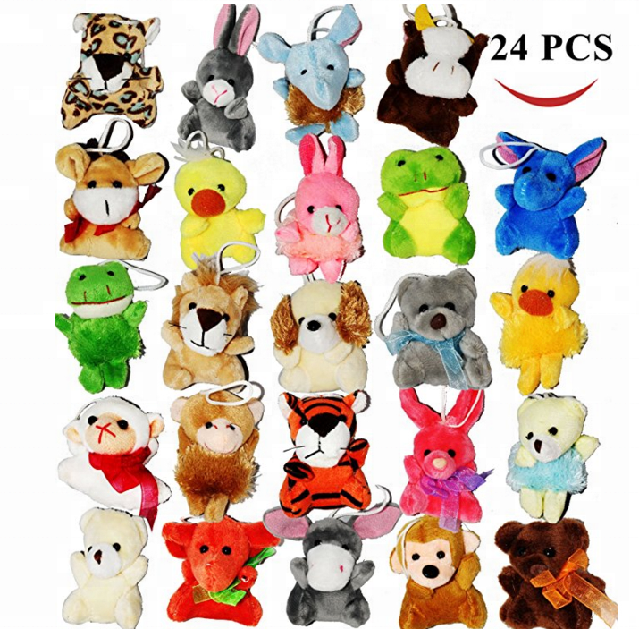 "Toy 24 Pack of Mini Animals peluche Plush Toy Assortment (24 units 3"" each) Kids Party Favors"