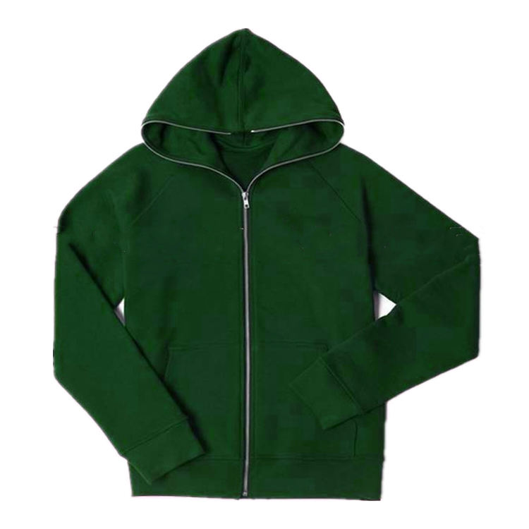 ShenZhen Wholesale Clothing Blank Zip Green Hoodies And Custom Printed Full Zip Hoodie
