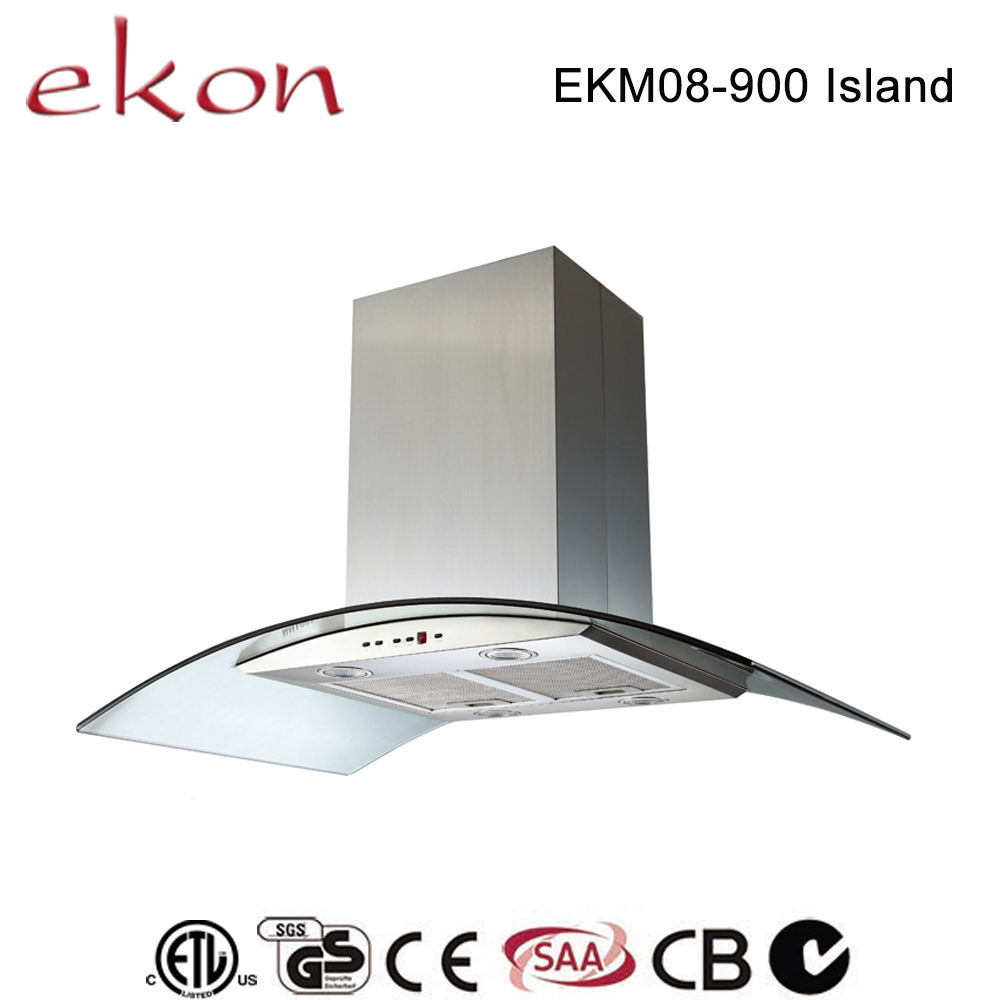 hot sale best ultra thin curved glass copper motor mechanical switch 4 LED 900mm island mounted outdoor range hood