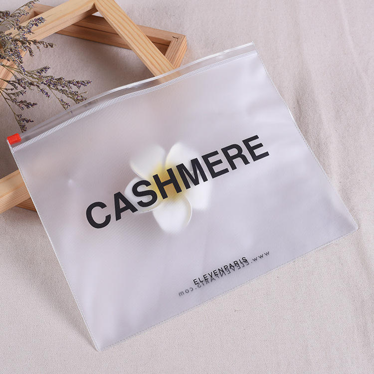 Custom Logo Printing Biodegradable PVC Frosted Swimwear Clothing Ziplock Plastic Packaging Bag Cosmetic Slider Zipper Pouch