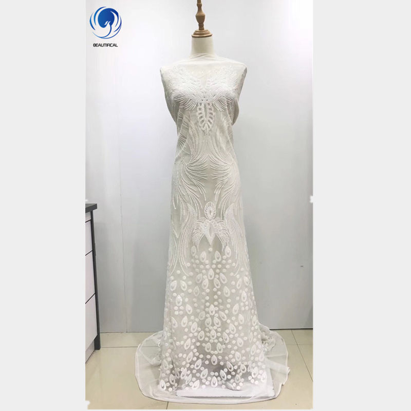 Beautifical 2019 sequins lace white bridal french wedding fabric lace 5 yards nigerian tulle lace new arrival ML3N23
