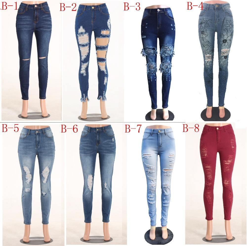 2020 fashion street Ripped jeans women,women's high waisted lady jeans denim skinny stretch d jeans