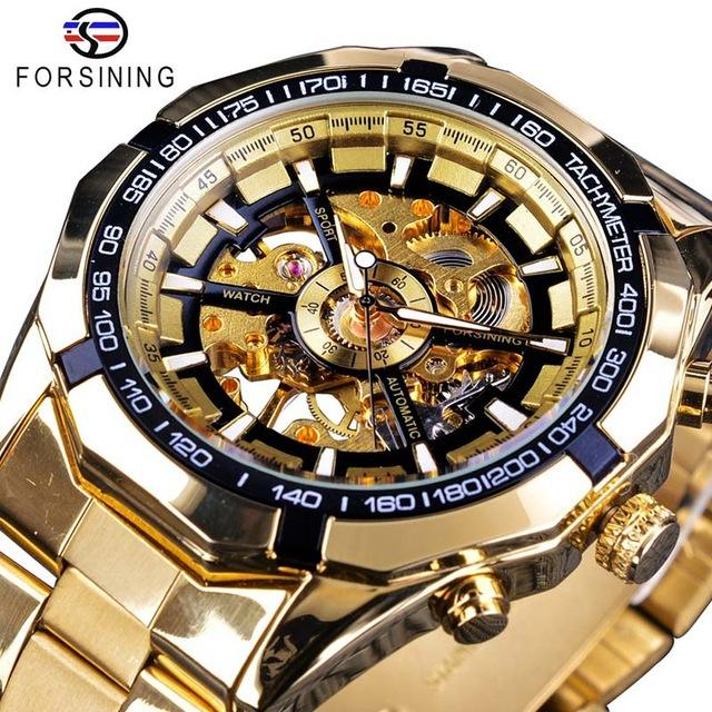 Forsining Horloge 2019 Top Brand Luxe Volledige Golden Mechanische Mens Watch Skeleton Klok Sport Mode Toevallige Horloges Mannen Pols