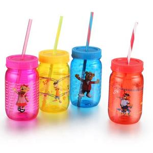 500ml PS plastic mason jar with lid and straw from direct manufacture supplier