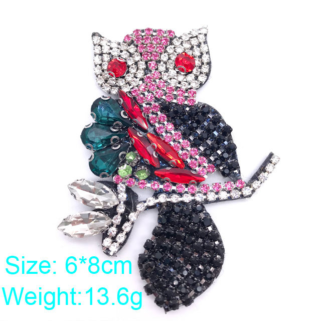 h024 fashion sew on owl 3D rhinestone patch crystal patch applique for bag