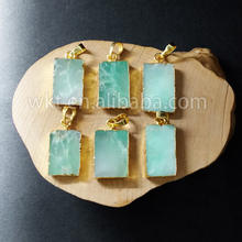 WT-P692 Wholesale Natural rectangle Chrysoprase pendant with 24k gold plated, fashion green jade Chrysoprase pendant