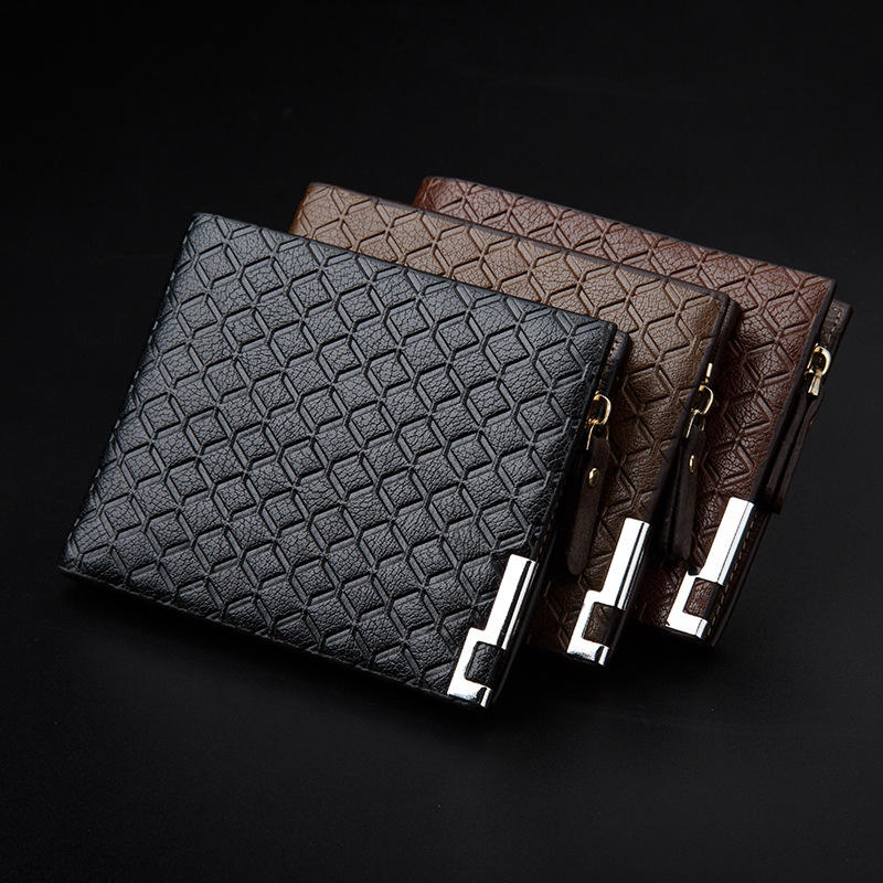 Custom Newest Style High quality Short PU leather Wallet Young Men Casual Wallets