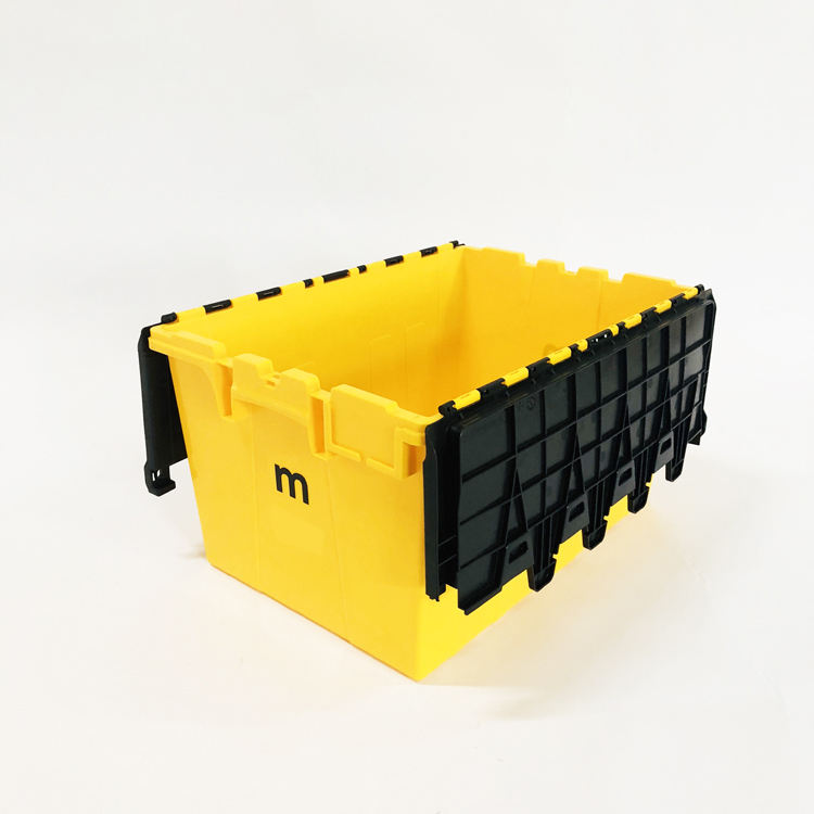Factory 60L large storage box plastic moving crate with lid dolly
