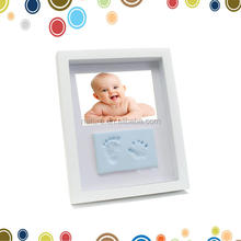 New baby boy gift handprint footprint imprints mould kit white box display photo frame