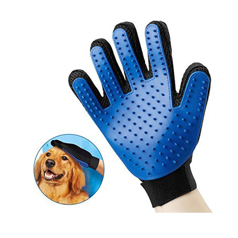 2019 Hot Selling Amazon Pet Grooming Deshedding Brush Five Fingers Silicone Glove Dog Cat Hair Cleaning Glove for Dog Massage
