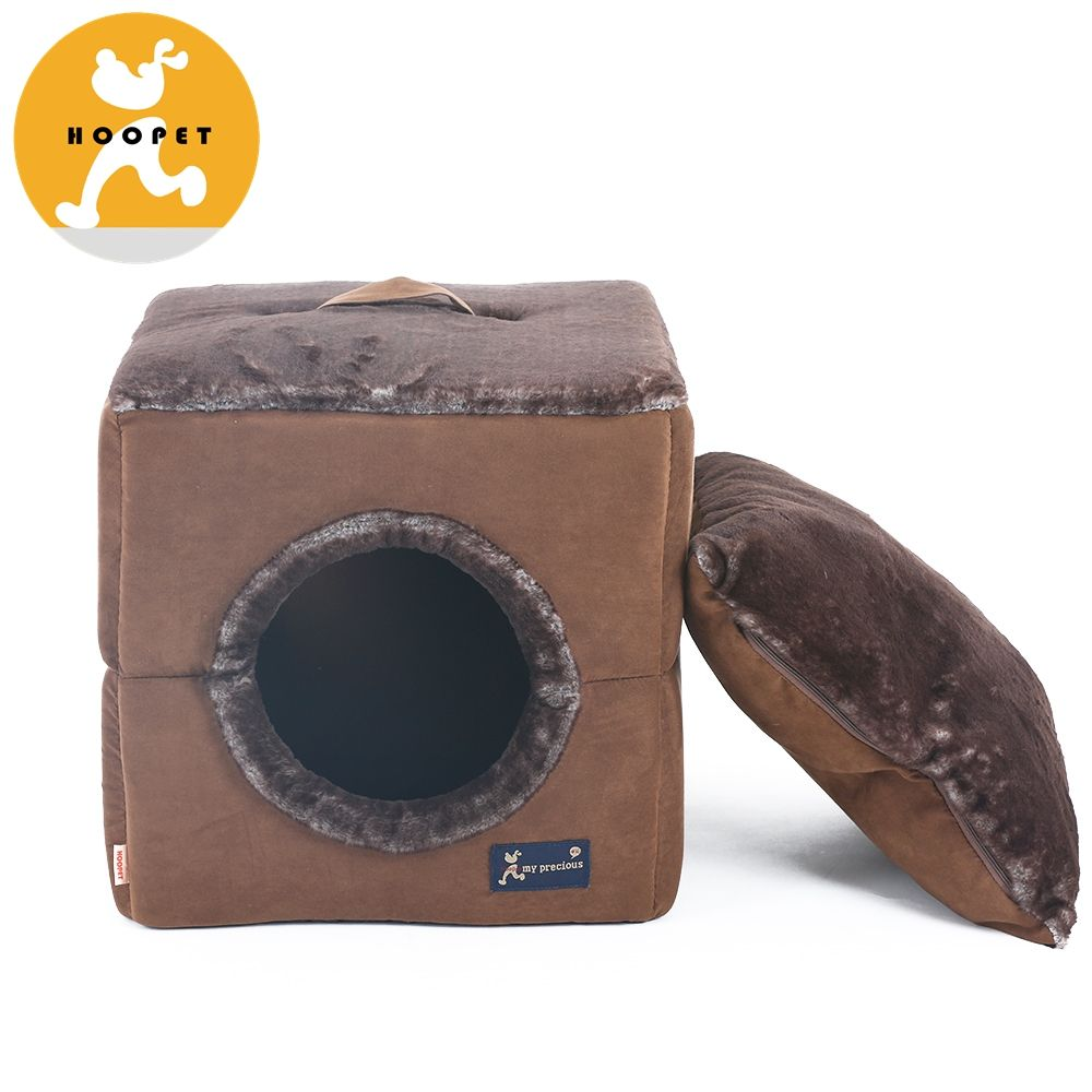 Cheap dog cave bed pet cat beds Double use made by Faux Rabbit Hair