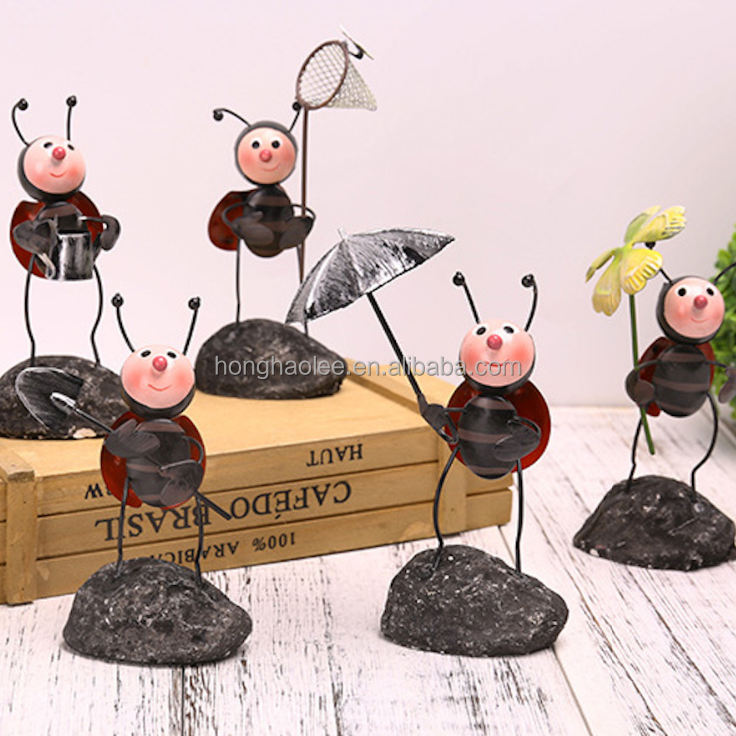 Cute Iron Metal Ladybug Insect Crafts Outdoor Garden Decoration 6 designs