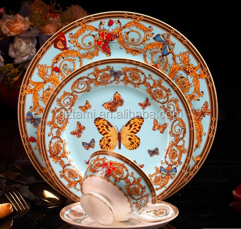 Ceramic Dinnerware Sets Chinese Porcelain Dinner set Butterfly Under Glazed Printed Tableware Creative