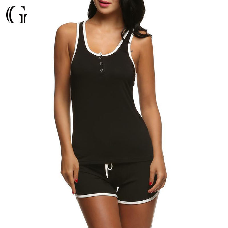 Wholesale Summer Ladies Sleeveless Black Organic Cotton Spandex Tank Shorts Pyjamas