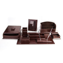 China Wholesale Gold Supplier Leather Office Desk Set Hotel Leather Products