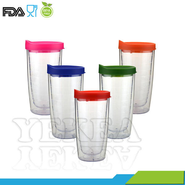 Double Wall Plastic Drinking 16 oz Clear Tumbler with Straw