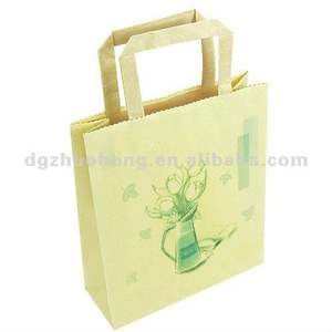 eco-friendly craft paper shopping bag with flat handle