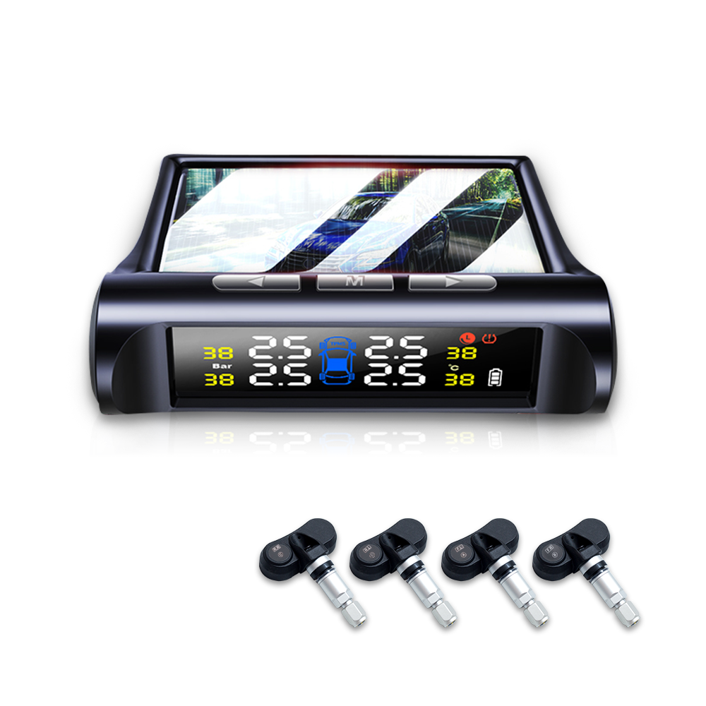 China New Model 48Hours Delivery MOQ 1PC Wireless Solar TPMS Tire Pressure Monitoring System for All Universal Cars with USB