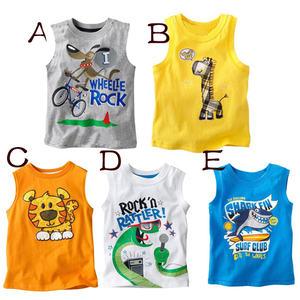 Manufactory Wholesale Screen Printing Sleeveless Kid's 100% Organic Cotton T-shirts