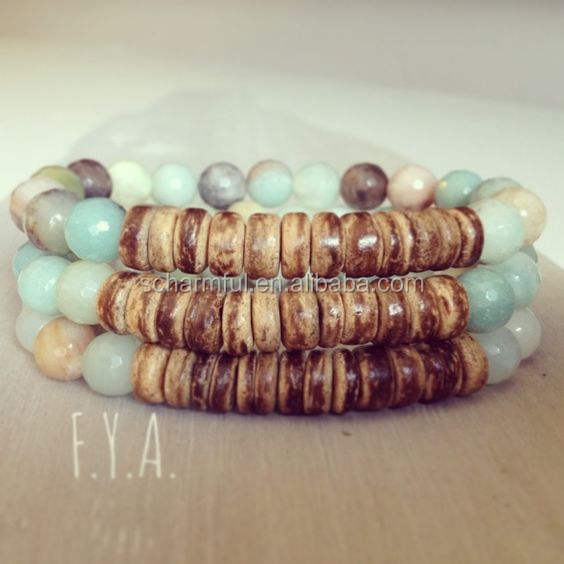 ST0036-003 coconut bead beach style Amazonite Beads bracelet