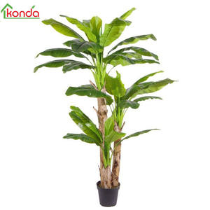 Home decor Artificial travel banana tree plant bonsai in plastic material and Shrubs Plant Type in pot rubber plant