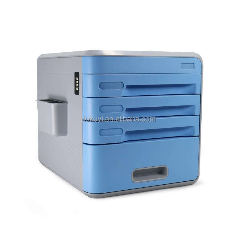 2016 new design office equipment 4 Layers Plastic Filing Cabinet; lockable 4 drawer file cabinet