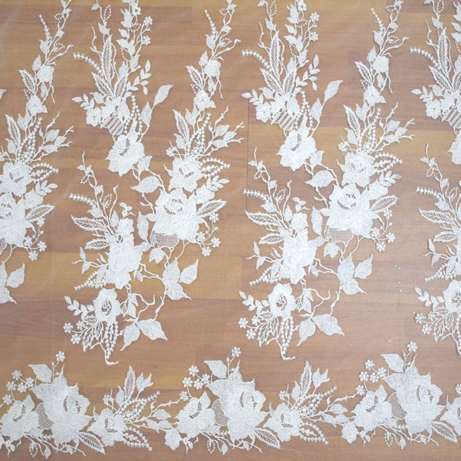 dubai white french tulle lace flower embroidery designs for white lace wedding dress HY0782-2
