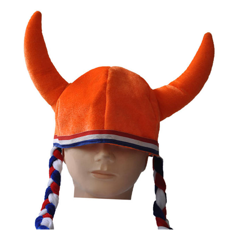 orange velvet devil viking horn hat with braid fans party hat