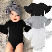 lyc-1060 STOCK Newborn Baby Girl Clothes Flared Sleeve Romper Jumpsuit Cotton Outfits