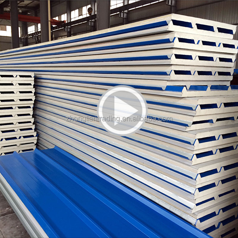 China factory price prefab house fire rated fireproof interior exterior roof wall 30mm 50mm polyurethane pu sandwich panel