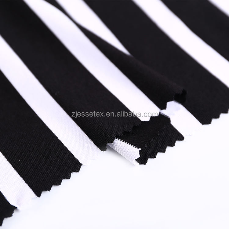 New design black white stripe yarn dyed pique fabric for polo shirts