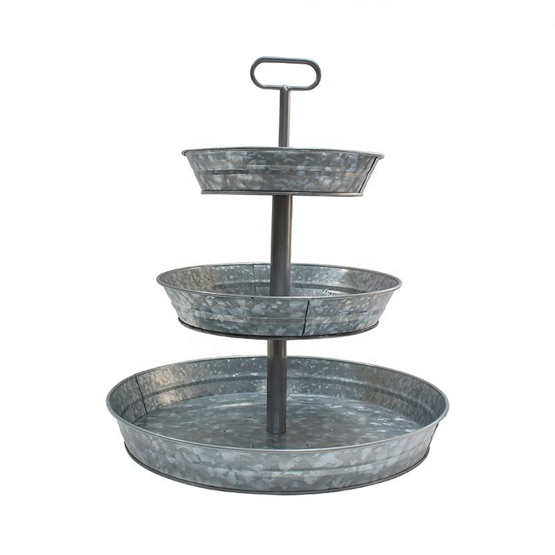 High quality galvanized Farmhouse Style Serving Tray 3-Tier Metal Tray With portable handle