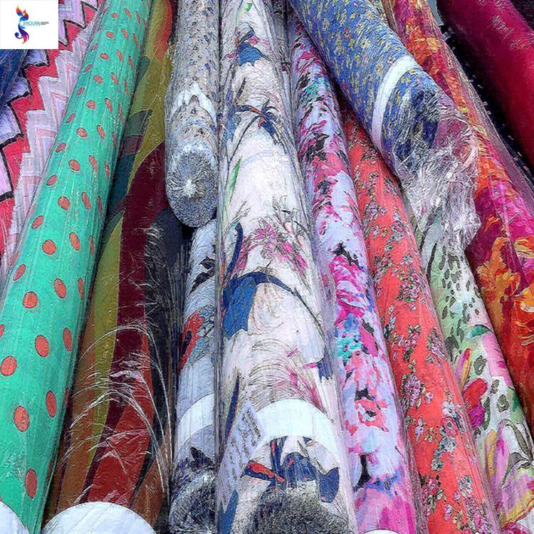 Made in China cheap polyester colorful woven print chiffon stock lot fabric for dress