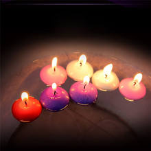 Romantic color small wax smokeless floating candle
