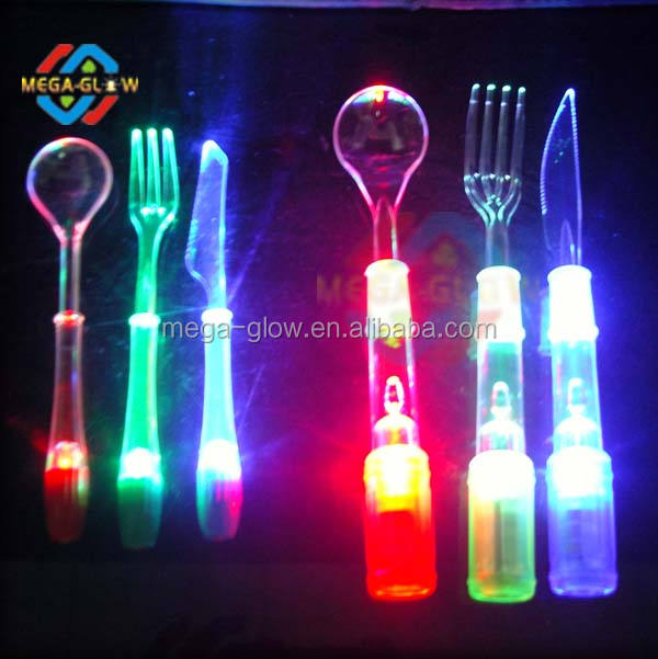 Led Flashing Spoon Knife Fork Set For Party Supplies Set