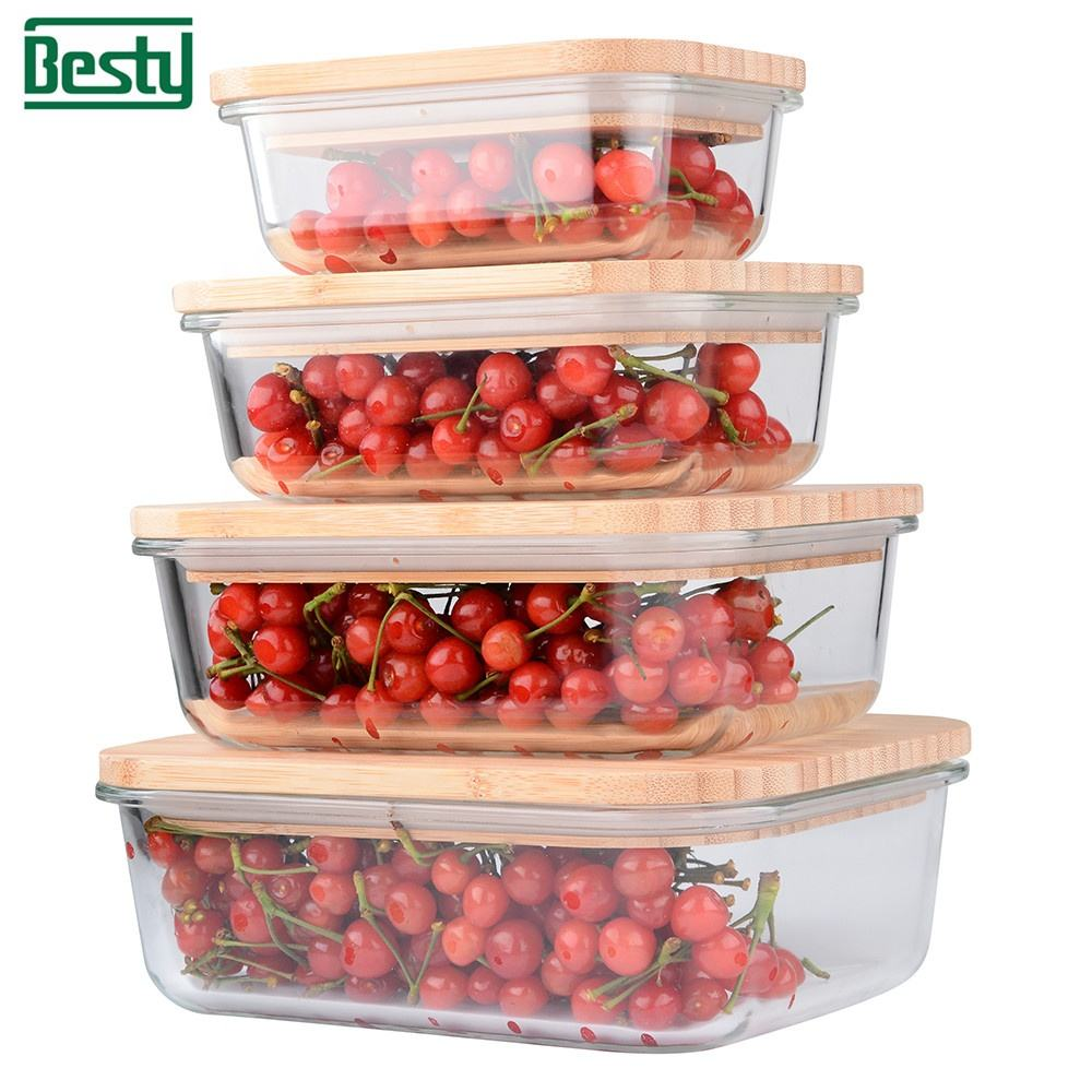 New design Borosilicate Glass Food Storage Container Bamboo lid Bento Lunch Box
