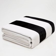 Black and White Stripe Flannel Throw Blankets