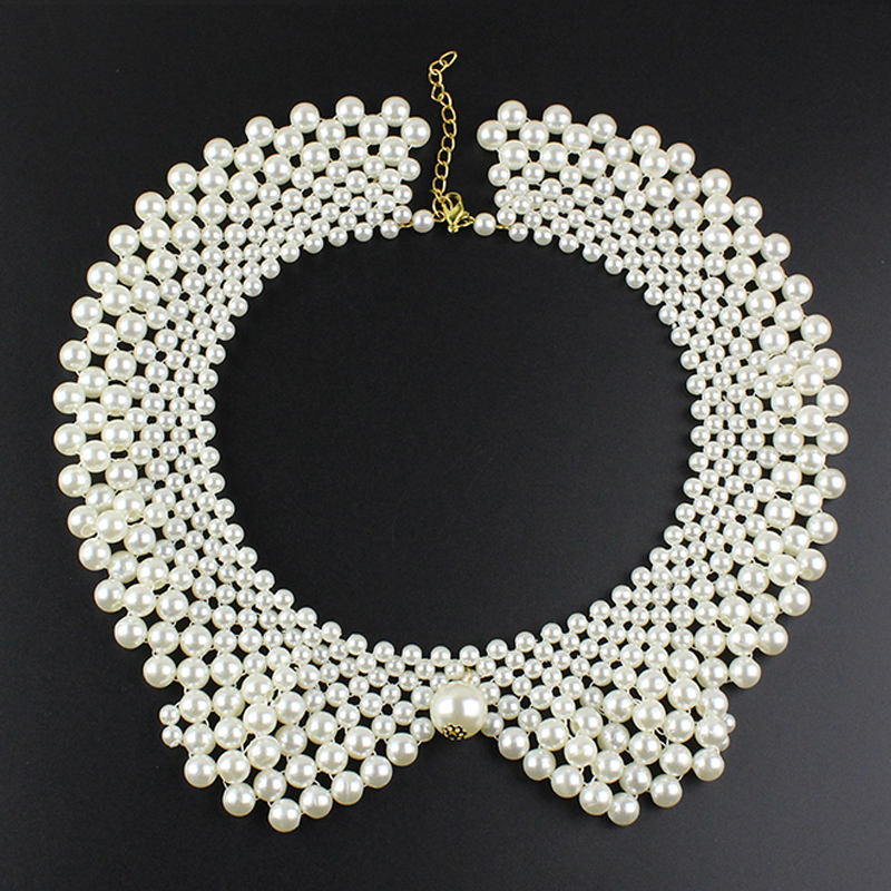 Vintage Alloy Black White Imitation Pearls Beaded Choker Necklaces sweater chain Necklace Women 's Clothing Fake Collar