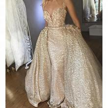 2018 Bling Gold Sequined Prom Dresses With Detachable Train Spaghetti Long Formal Evening Gowns Women Dresses