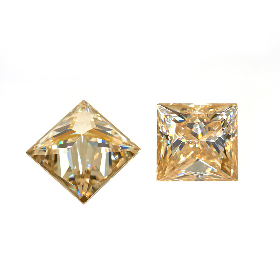 GIGAJEWE High Quality Yellow Color Loose Gemstone Princess Cut rough Synthetic Moissanite Diamond fashion jewelry