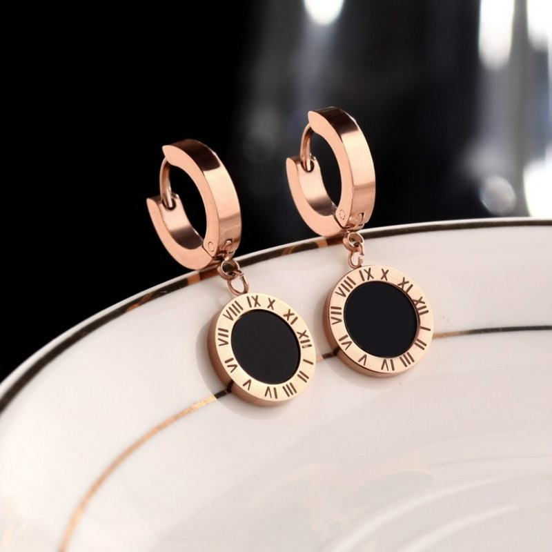 18K Rose Gold Stainless Steel Dangle Earings Fashion earrings Jewelry Elegant Roman Number Stud Earrings for Women