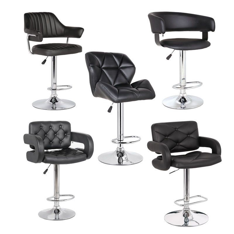 HOT SELL Cheap modern custom black leather kitchen adjustable PU seat unique gas lift bar stool high chair with backrest