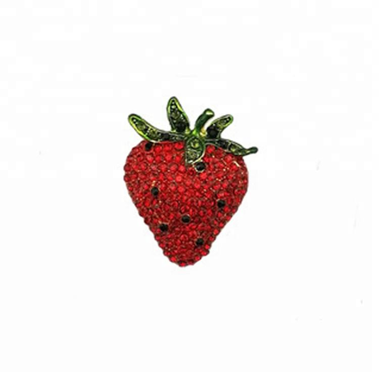 fashion latest Jewelry for women girlish Fashion Rhinestones cute red fruit vegetable love strawberry crystal Brooch Pin