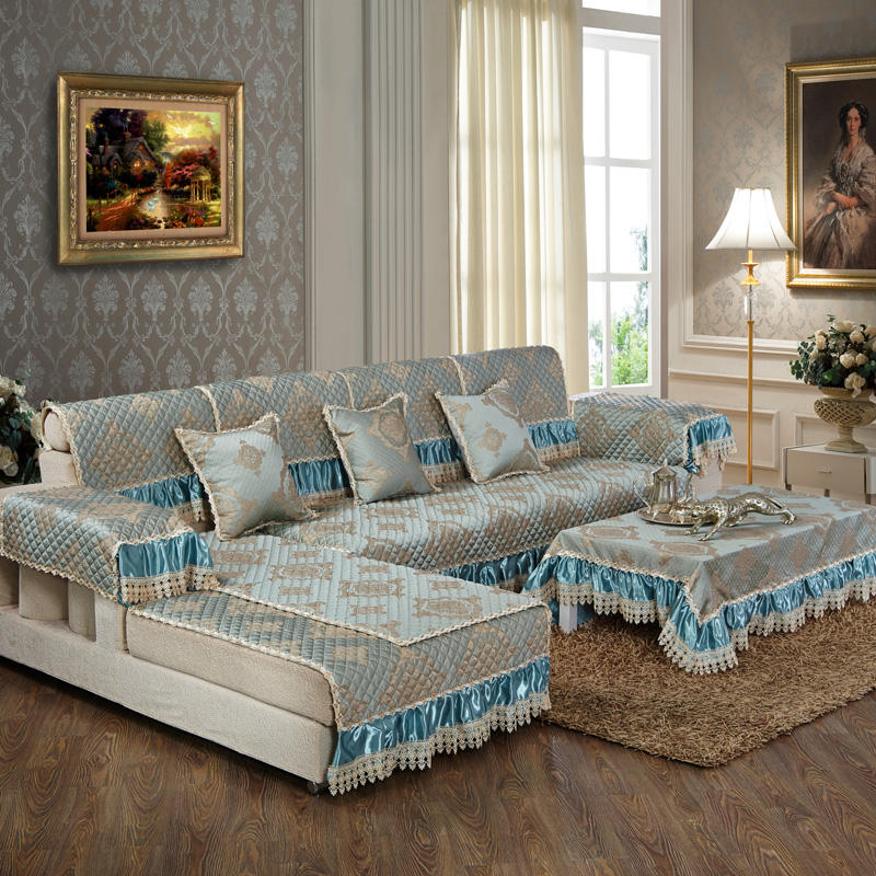 sofa slip covers custom polyester green lace ready made sofa set covers
