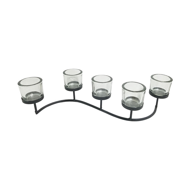 Metal [ Home ] Metal Glass Decoration Black Metal Home Decorative Candle Holder With Glass Cups