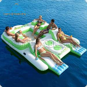 New design Big Inflatable 6 Person Island Water Float Lounge