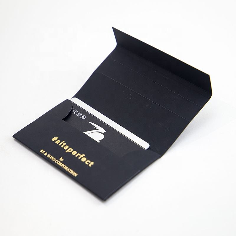 FSC Custom Logo Hot Stamp UV Coating Promotion Card Packaging Black Soft Touch Special Paper Envelope