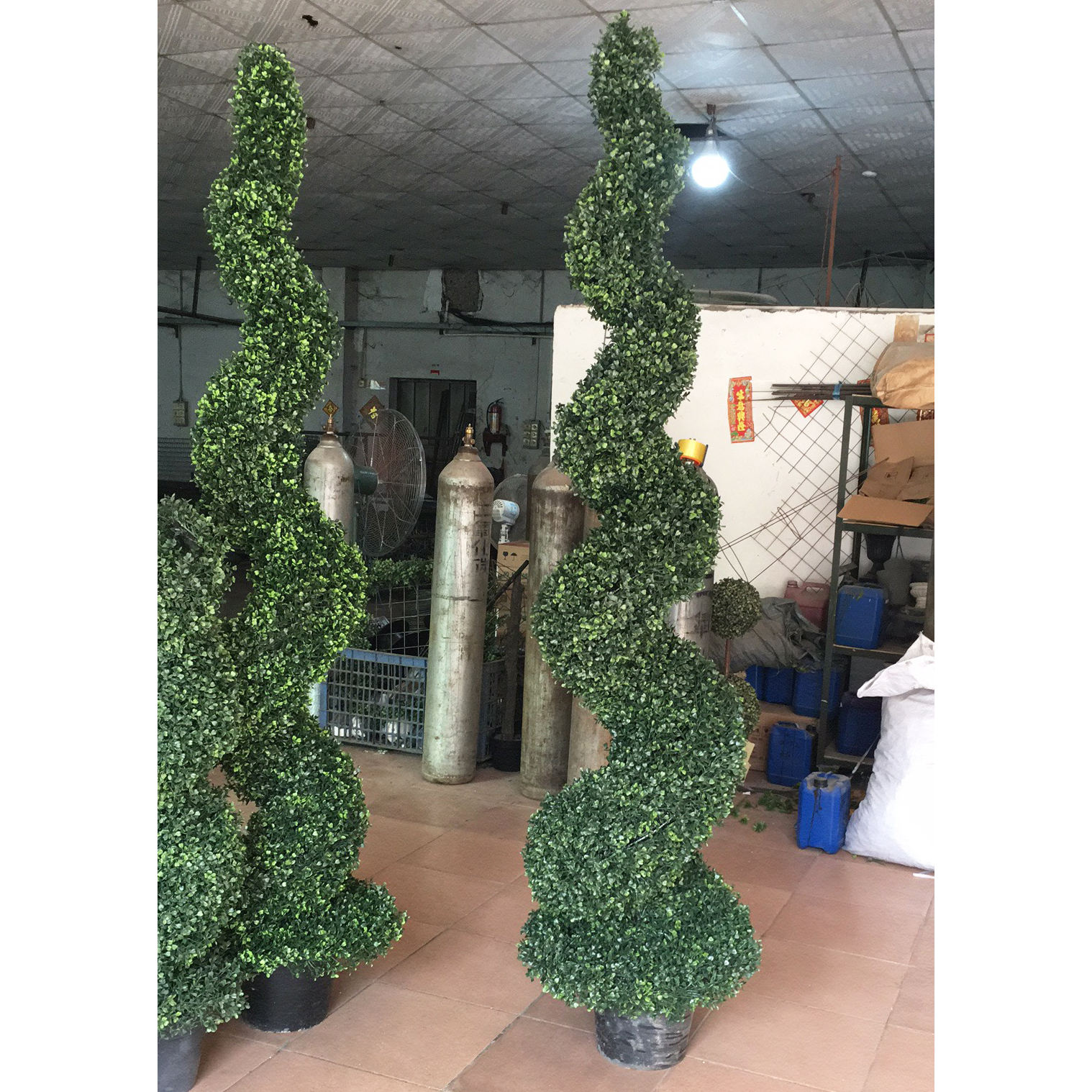 Bushy Green Artificial Spiral Tree Outdoor Decorative Pot Tree